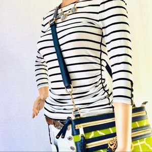 White House Black Market Tops - White House Black Market Striped Ruched Top